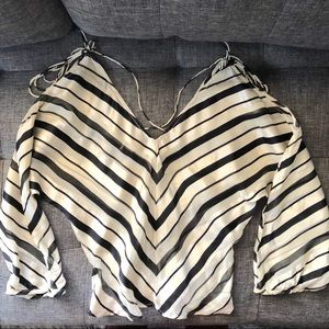 Rare Black/white striped silk blouse top MNG Sz. S
